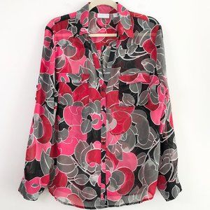 NY & Co Floral Roll Tab Sleeve Button Down Blouse